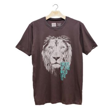 T-shirt Earth Zoo Masculina - Leão Chumbo