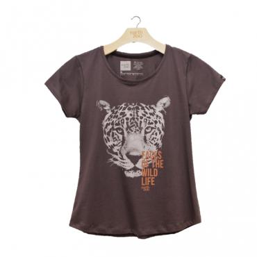 T-shirt Earth Zoo Feminina - Onça Pintada Chumbo