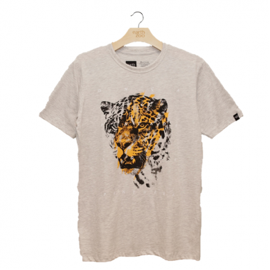 T-shirt Earth Zoo Masculina - Onça Pintada Cinza