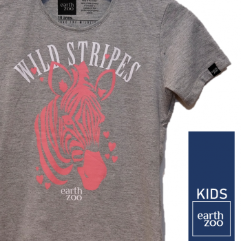 T-shirt Earth Zoo Kids Zebra Cinza