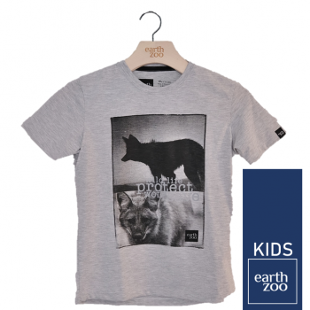 T-shirt Earth Zoo Kids Lobo Guará Cinza
