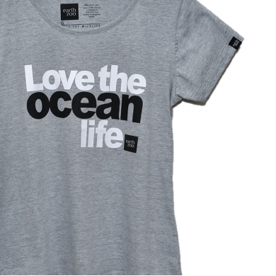 T-shirt Earth Zoo Feminina - Love the Ocean Life Cinza