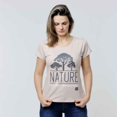 T-shirt Earth Zoo Feminina - Nature is the Answer Bege