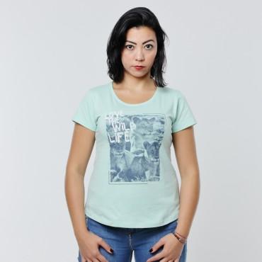 T-shirt Earth Zoo Feminina - Leões Verde