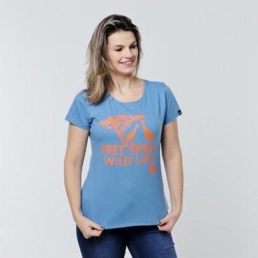 T-shirt Earth Zoo Feminina Girafa Azul Marinho