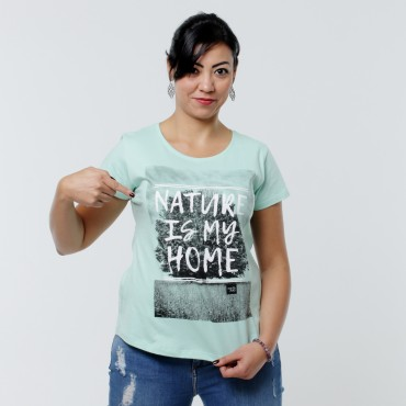 T-shirt Earth Zoo Feminina - Nature is my Home Verde