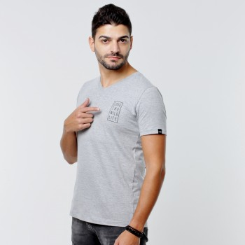 T-shirt Earth Zoo Masculina - Zebra Cinza