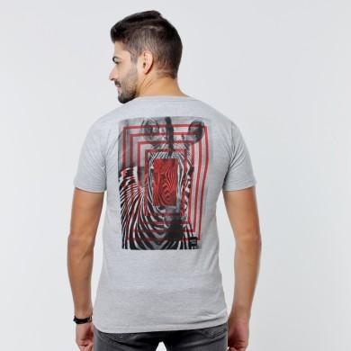T-shirt Earth Zoo Masculina - Zebra Cinza