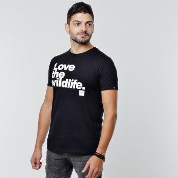 T-shirt Earth Zoo Masculina - Love the Wildlife Preta