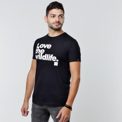 T-shirt Earth Zoo Masculina - Love the Wildlife Preta