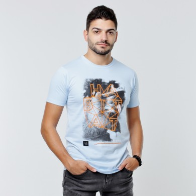 T-shirt Earth Zoo Masculina - Preguiça Azul