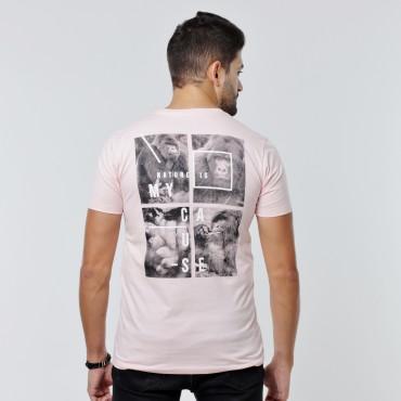 T-shirt Earth Zoo Masculina - Gorila Rosa