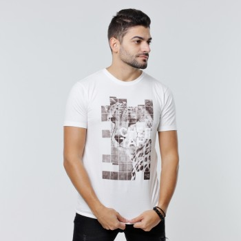 T-shirt Earth Zoo Masculina - Cheetah Branca