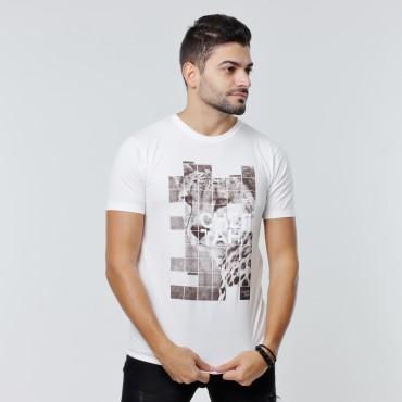 T-shirt Earth Zoo Masculina - Cheetah Branca