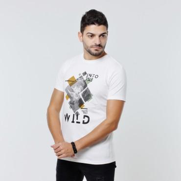 T-shirt Earth Zoo Masculina - Rinoceronte Branca
