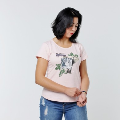T-shirt Earth Zoo Feminina - Elefante Rosa