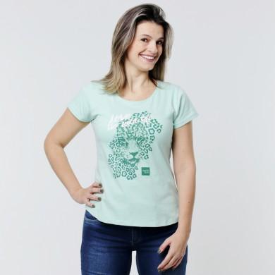 T-shirt Earth Zoo Feminina - Onça Pintada Verde