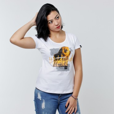 T-shirt Earth Zoo Feminina - Leão Branca