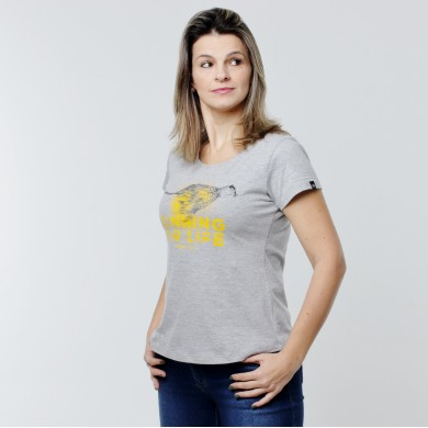 T-shirt Earth Zoo Feminina - Cheetah Cinza