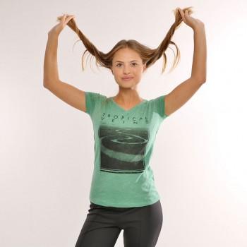 T-shirt Earth Zoo Feminina Tropical Veins Verde