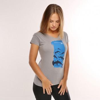 T-shirt Earth Zoo Feminina Tubarão Cabeça de Martelo Cinza