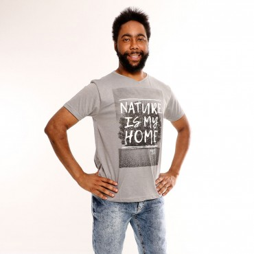 T-shirt Earth Zoo Masculina Nature is My Home Cinza