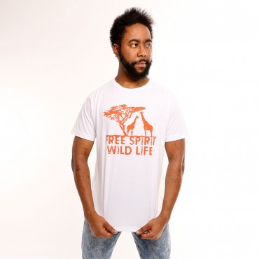 T-shirt Earth Zoo Masculina Girafa Branca