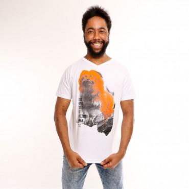 T-shirt Earth Zoo Masculina Mico-Leão-Dourado Branca