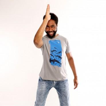T-shirt Earth Zoo Masculina Tubarão Cabeça de Martelo Cinza