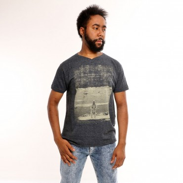 T-shirt Earth Zoo Masculina Urso Polar Grafite